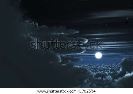 A beautiful night scene looking through the clouds with a full bright moon - stock photo