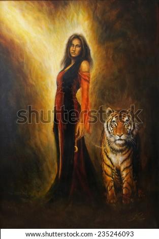 A beautiful oil painting on canvas of a mystical woman in historical dress with a mighty tiger by her side - stock photo