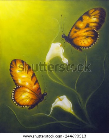 A beautiful oil painting on canvas of a two butterfly fying towards a Cala flower - stock photo
