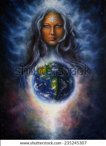 A beautiful oil painting on canvas of a woman goddess Lada as a mighty loving guardian and protective spirit upon the Earth eye cotact - stock photo