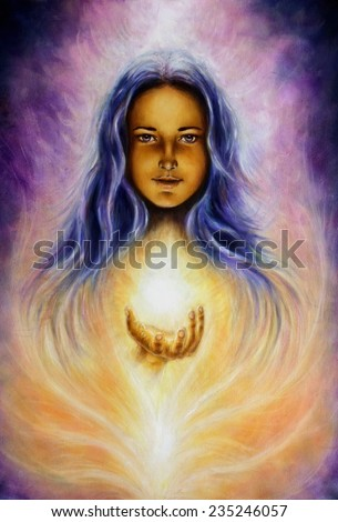 A beautiful oil painting on canvas of a woman goddess Lada holding a sourceful of a white light on her palm profile portrait eye contact make up artist - stock photo