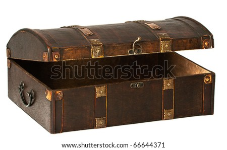 A beautiful open wooden chest with golden stripes. - stock photo