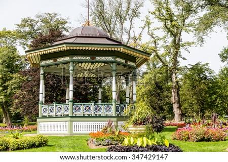A beautiful ornate gazebo in a public garden in Halifax, Nova Scotia - stock photo