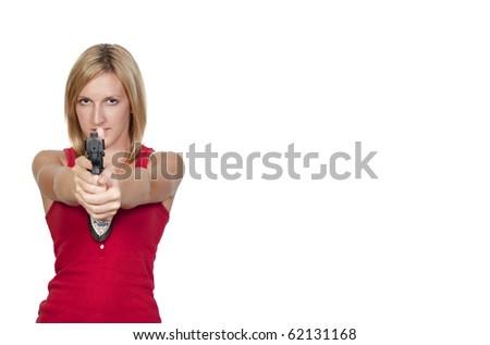 A beautiful police woman on the job - stock photo