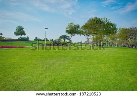 A beautiful public park in dubai - stock photo