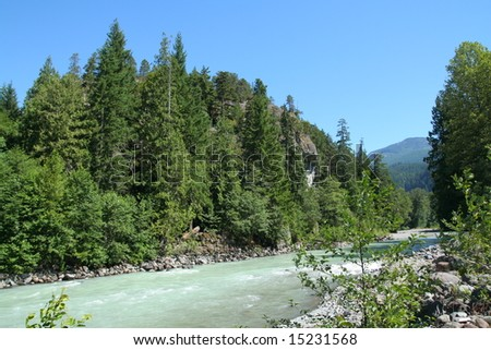 a beautiful river in british columbia - stock photo