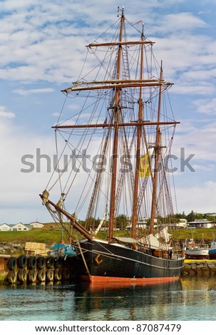 A beautiful schooner in the port of Reykjavik city, Iceland - stock photo