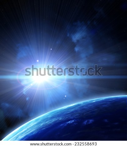 A beautiful space scene with planets and nebula - stock photo