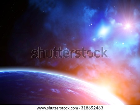 A beautiful space scene with sun, planets and nebula. Elements of this image furnished by NASA - stock photo