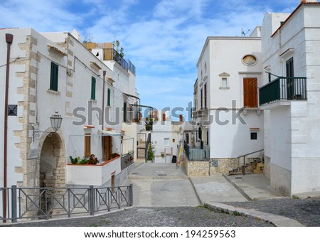A beautiful street in Vieste, Italy - stock photo