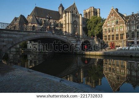 A beautiful summer morning in the medeival section of Ghent, Belgium - stock photo