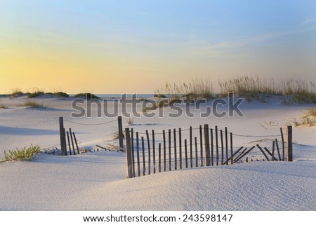 A Beautiful Sunrise on a White Sand Florida Beach - stock photo