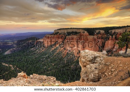 A beautiful sunset in Bryce Canyon - stock photo