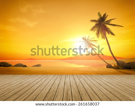 A beautiful sunset over the ocean with a palm tree and wooden jetty foreground - stock photo