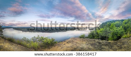 A beautiful sunset sky from Ferry Bluff over looking the Wisconsin River - stock photo
