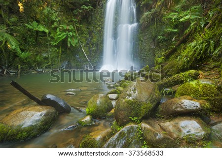 A beautiful temperate rainforest with waterfalls. The Beauchamp Falls in the Great Otway National Park, Victoria, Australia. - stock photo