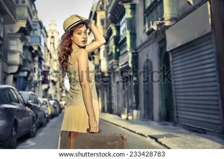 A beautiful traveller  - stock photo