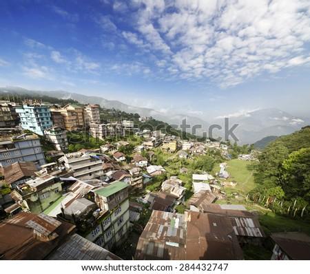 A beautiful valley city view of ravangla - stock photo