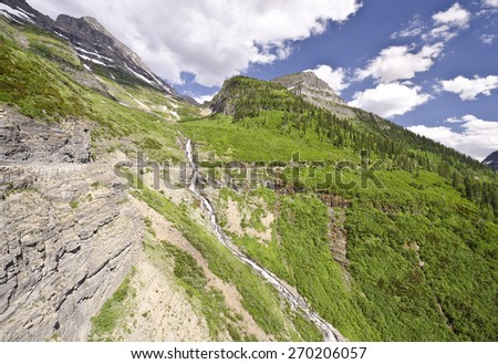 A beautiful valley view at glacier national park - stock photo
