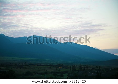 a beautiful view from the island of Maui Hawaii, showing its diversity of nature, lush tropical green foliage, and beautiful sky. A true Paradise on earth - stock photo