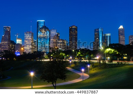 A beautiful view of downtown Houston at night - stock photo