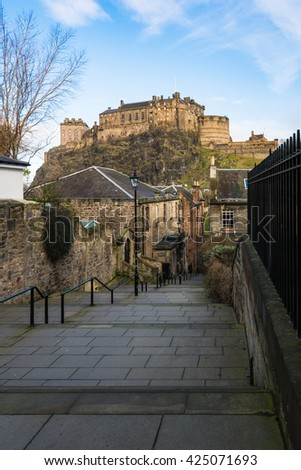 A beautiful view of Edinburgh Castle from Vennel in Edinburgh, Scotland,UK - stock photo