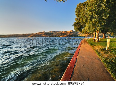 A Beautiful View of Lake Chelan - stock photo