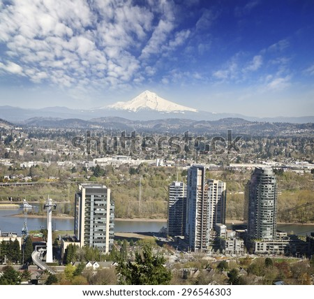 A beautiful view of portland city from ropeway - stock photo