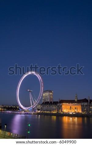a beautiful view of the London Eye - stock photo