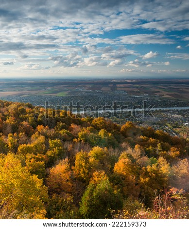 A beautiful view of the Richelieu Valley from Mont Saint Hilaire during foliage season, Quebec, Canada - stock photo