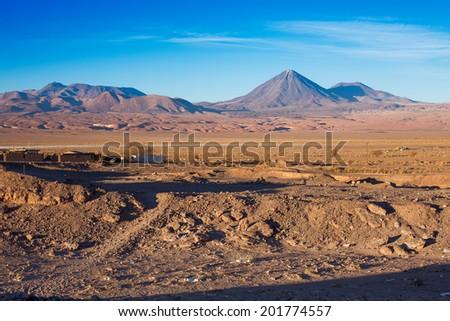 A beautiful view on the volcano licancabur near San Pedro de Atacama, Atacama Desert, Chile - stock photo