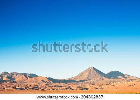 A beautiful view on the volcano licancabur near San Pedro de Atacama, Chile - stock photo