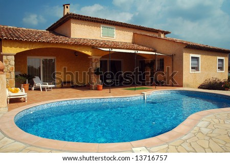 A beautiful villa in the South East of France, on the French Riviera - stock photo