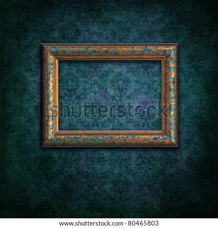 a beautiful vintage frame on grunge background - stock photo