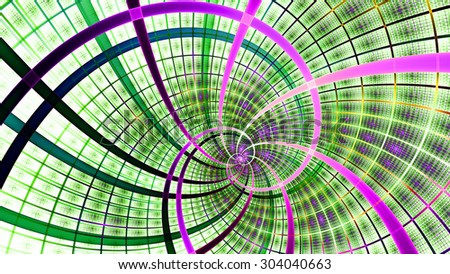A beautiful wallpaper with a spiral with decorative tiles, all in bright vivid green,pink,yellow - stock photo