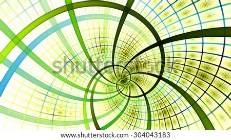 A beautiful wallpaper with a spiral with decorative tiles, all in bright vivid yellow,green,blue - stock photo