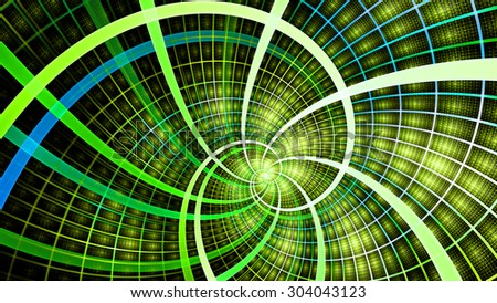 A beautiful wallpaper with a spiral with decorative tiles, all in vivid shining yellow,green,blue - stock photo