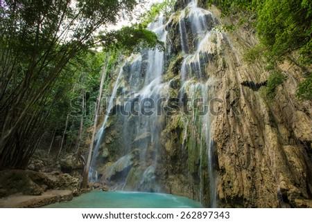 A beautiful waterfall  in Cebu, Philippines. - stock photo
