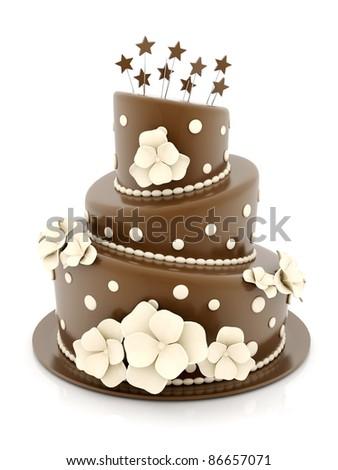 A beautiful wedding cake on a white background - stock photo