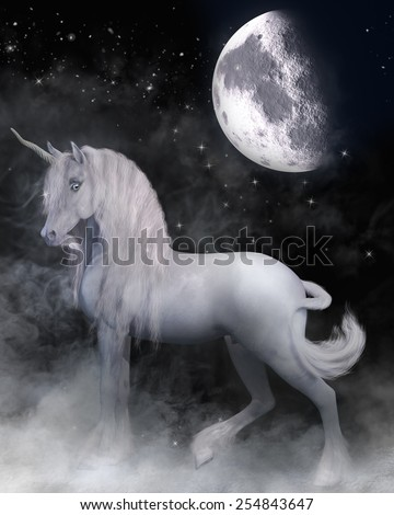 A beautiful white unicorn standing in the mist with magic night and moon surrounding him. - stock photo