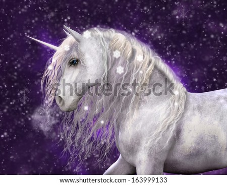A beautiful white unicorn with silvery mane that has sparkling snow flakes in it.  Purple background with falling snow. - stock photo