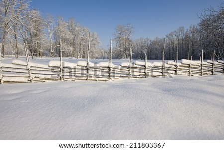 A beautiful winter with lots of snow - stock photo