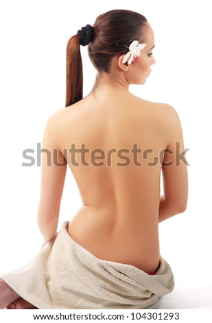 A beautiful woman, back view, isolated on white background - stock photo