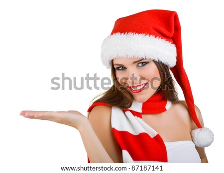 A beautiful woman dressed in a Christmas show at the open palm, isolated on white background - stock photo