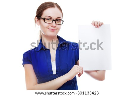 A beautiful woman holds out blank card Isolated on white background - stock photo