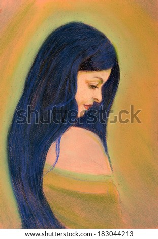 A beautiful woman painted with pastels - stock photo