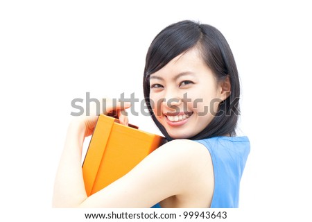 a beautiful woman smiling and holding gift box , isolated on white background - stock photo