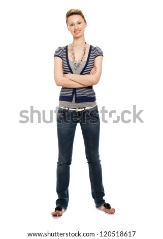 A beautiful woman standing isolated on white background - stock photo