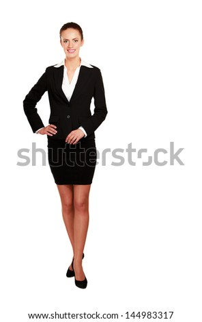 A beautiful woman standing , isolated on white background - stock photo