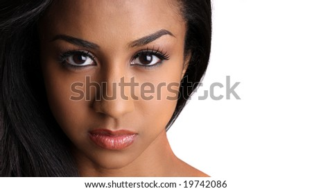 a beautiful young african american woman. - stock photo